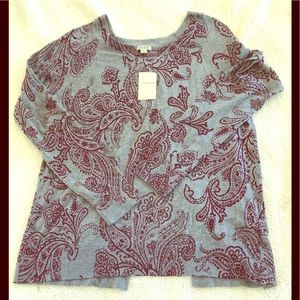 NWT!!! Lucky Brand gray open back print sweater L